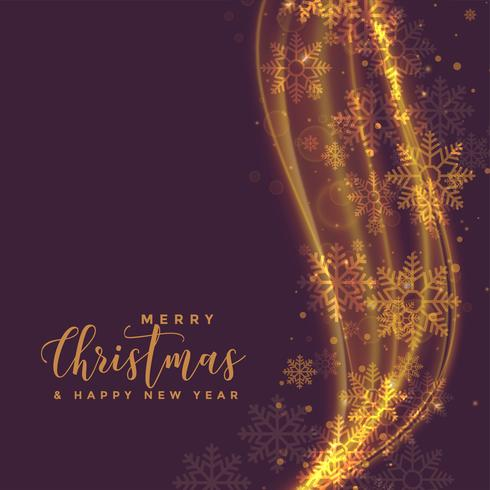 beautiful golden light wave with snowflakes for christmas festiv