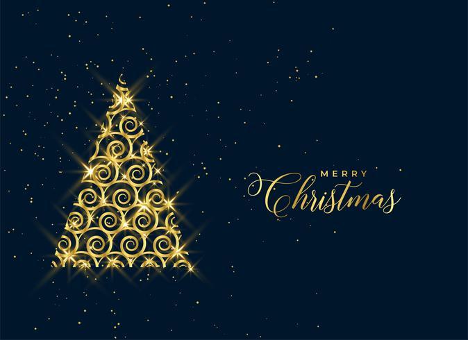 hermoso árbol de Navidad dorado decorativo destellos de fondo