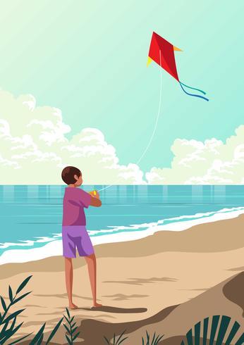 Personnes pilotant un cerf-volant sur la plage