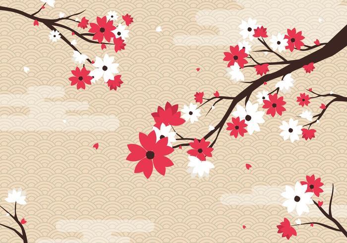 körsbärsblommar bakgrunds illustration