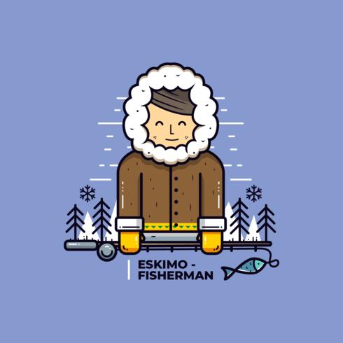 Vecteur de gars esquimau