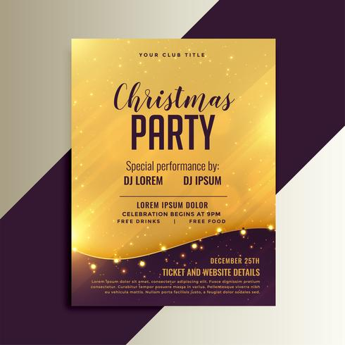 golden christmas shiny flyer with lights decoration