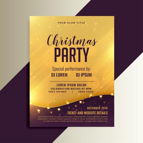 flyer brillant de Noël doré avec décoration de lumières