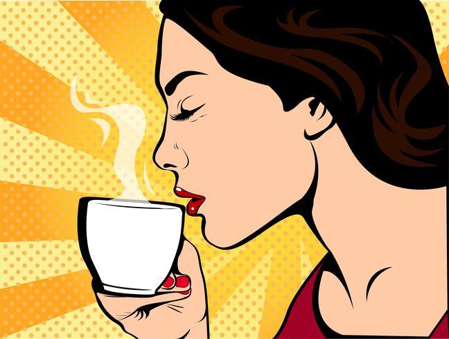 Fille avec une tasse de café style pop art rétro. Restaurants et cafés. Une boisson chaude. Courage amour et soin.