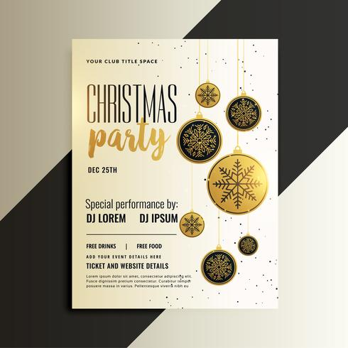 projeto de panfleto de celebração feliz Natal no tema ouro