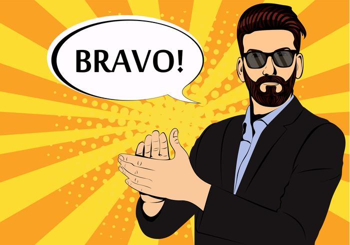 Hipster skägg affärsman applåder bravo koncept för framgång retro stil popkonst. Affärsman i glasögon i komisk stil. Framgång koncept vektor illustration.