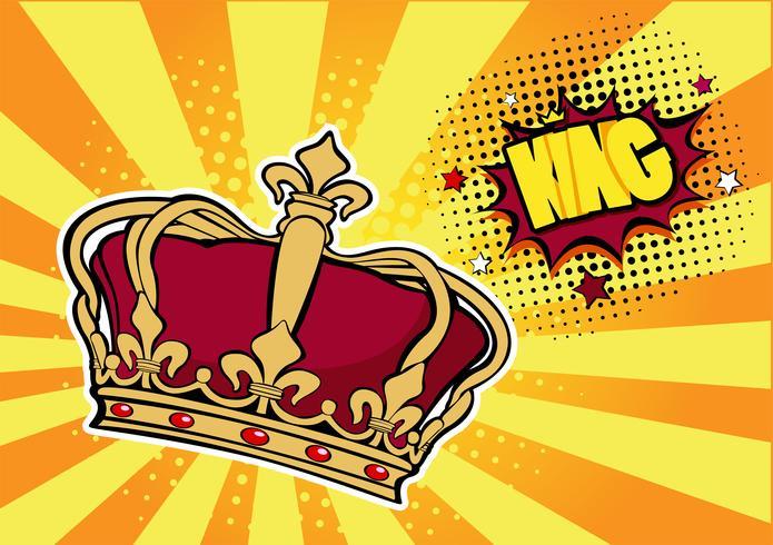 Popkonst bakgrund med krona och inskription King. Färgrik handgjord illustration med halvton i retro komisk stil. Framgångskoncept, mänskligt ego, kändisar.