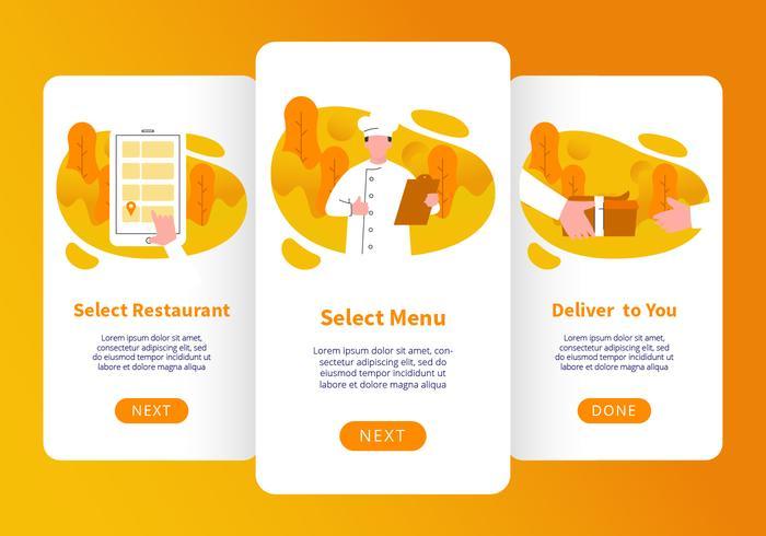 Vector de aplicaciones móviles para pedidos de comida en línea