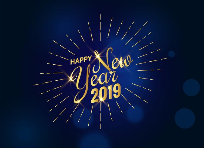 Feliz año nuevo texto dorado 2019 en fondo azul