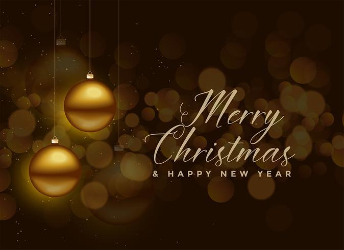 colgando de oro bola de Navidad bokeh de fondo