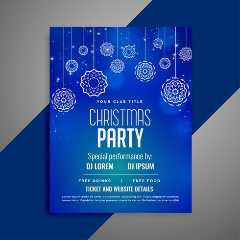 Blaue Weihnachtsfliegerschablone im dekorativen Design