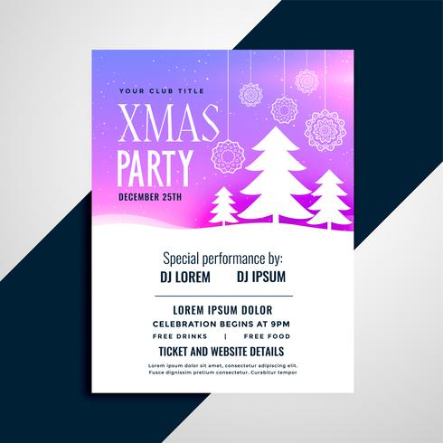 elegante pchristmas tree party flyer design