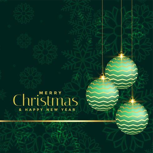 voeux de Noël de luxe avec des boules de Noël vertes