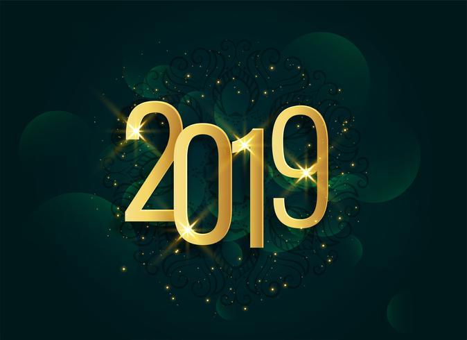 Fondo de oro brillante año nuevo 3d 2019