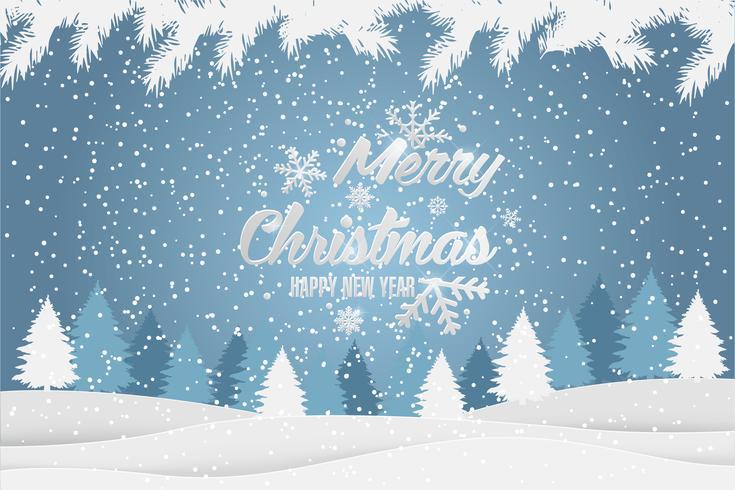 Navidad y año nuevo Navidad tipográfica fondo con paisaje de invierno. Tarjeta de feliz navidad Ilustracion vectorial
