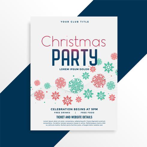 Elegante diseño de flyer fiesta de Navidad con coloridos copos de nieve