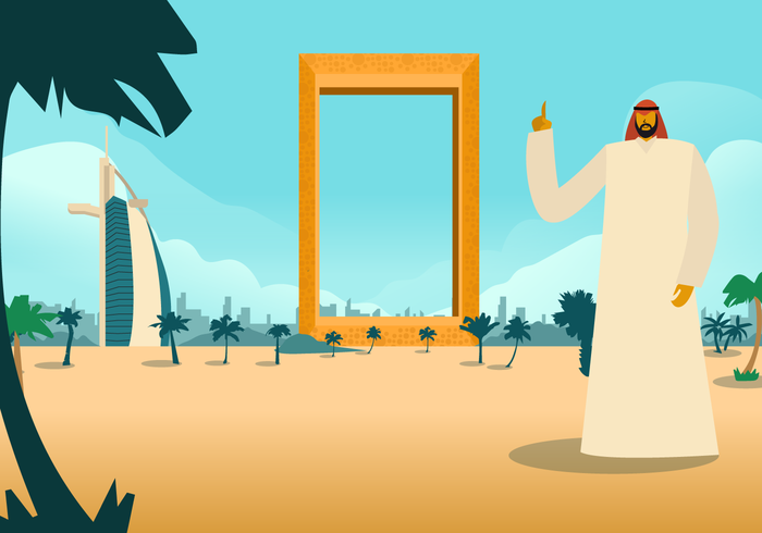 Mann, der in der Dubai-Ansicht-Vektor-Hintergrund-Illustration steht