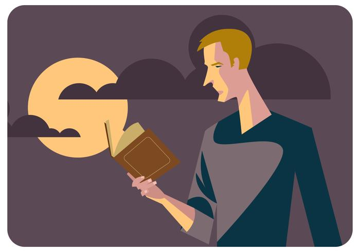 Man Reding Book Vector