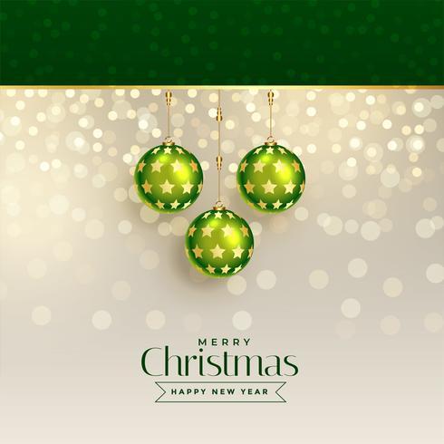 Excelente diseño de felicitación navideña con bolas de navidad verde.