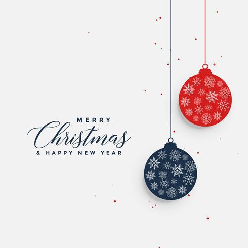 Navidad colgando bolas saludo fondo