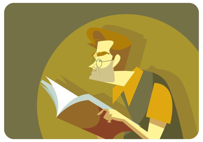 Nerd Reading Book Vector
