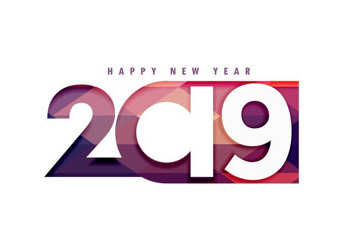 2019 Gelukkig Nieuwjaar creatieve tekst in papercut stijl