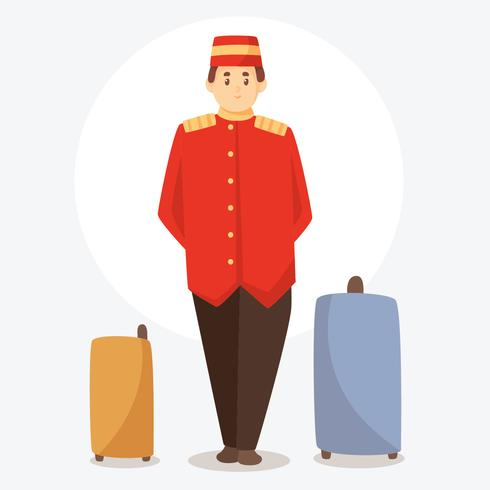 Vecteur de Bellhop With Suitcase