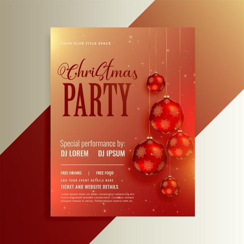 glänzender Party-Flyer mit roten Weihnachtskugeln