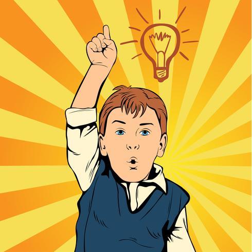 Kinderidee mit Zuglampe. Der kreative Junge kam auf die Idee. Der Mann bei der Arbeit Retro Art-Pop-Art
