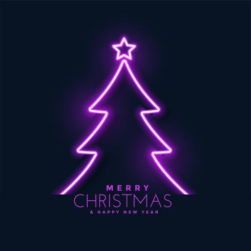 Fondo de árbol de Navidad de neón brillante