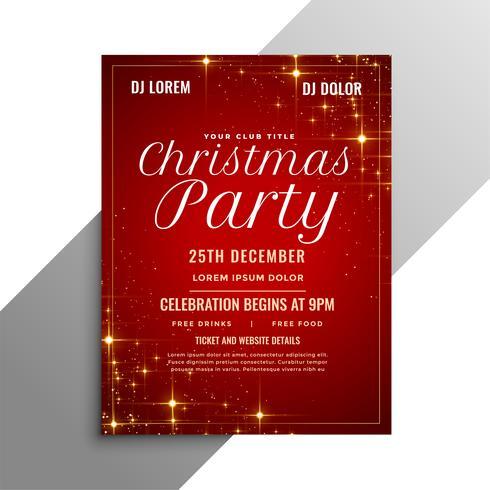 flyer de fête de Noël rouge avec des étincelles