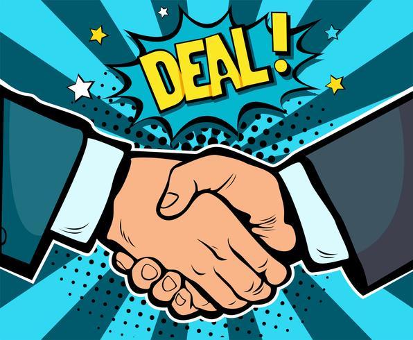 Contrat d'affaire commerciale poignée de main, partenariat et travail d'équipe, illustration vectorielle de pop art rétro bande dessinée. Concept commercial