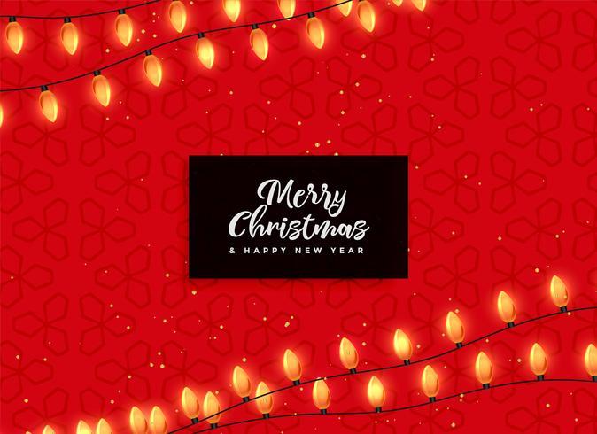 fondo rojo de navidad con luces decorativas