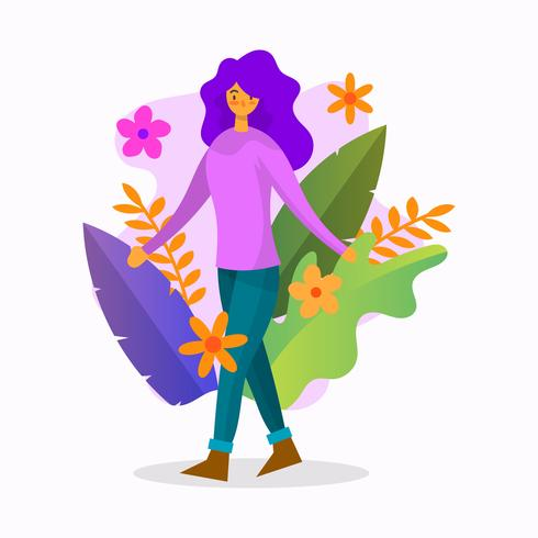 Flat Girl With Colorful Flower Vector Illustration