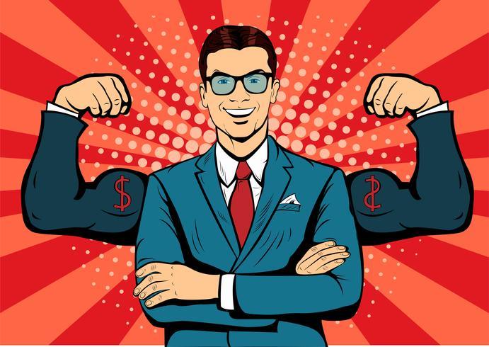 Hombre con estilo retro del arte pop dólar dólar moneda. Hombre de negocios fuerte en vidrios en estilo cómico. Ilustración de vector de concepto de éxito.
