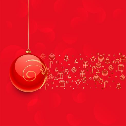 belle boule de noel rouge et autres elements de decoration