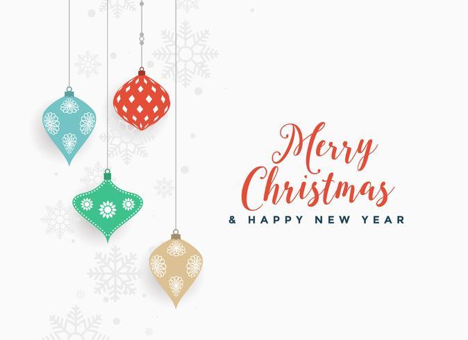 Fondo de vacaciones de Navidad con bolas colgantes decorativas
