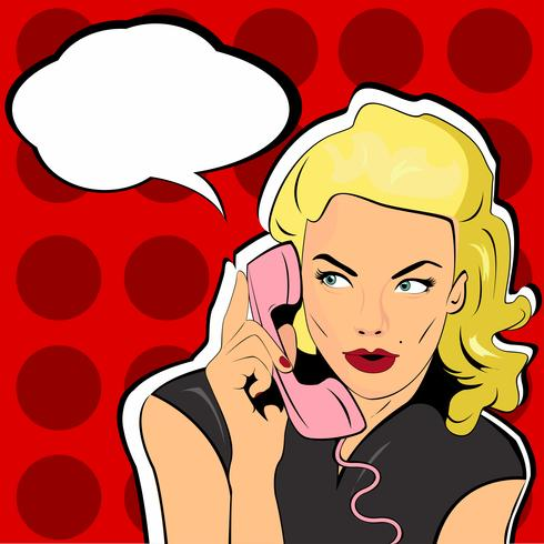 Pop Art vector illustration of woman with the speech bubble ant retro telephone. . Party invitation. Birthday greeting card. Call me.  surprised by the call. Vintage pop art poster