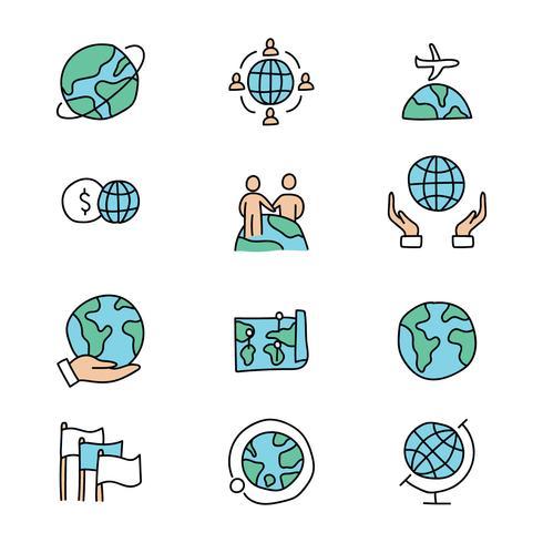 Conjunto de ícones de negócios doodled