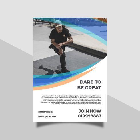 Platt man spelar skateboarding hälsa livsstil reklamblad
