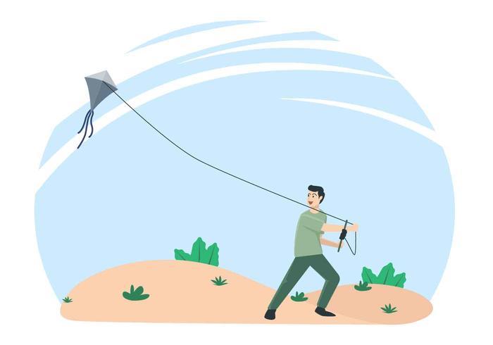 Gente volando una ilustración vectorial cometa