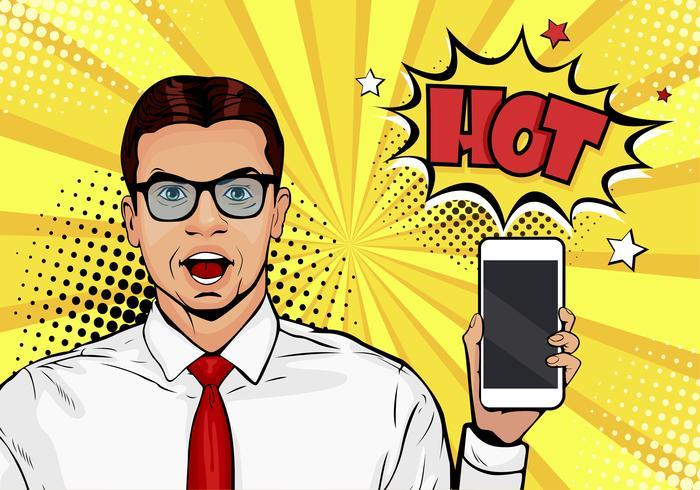 Attraktiver lächelnder Mann mit Telefon in der Hand in der komischen Art. Pop-Art-Vektorillustration in der Retro- komischen Art. Männliches Modell der Digital-Anzeige, welches die Mitteilung oder die neue APP auf Mobiltelefon zeigt
