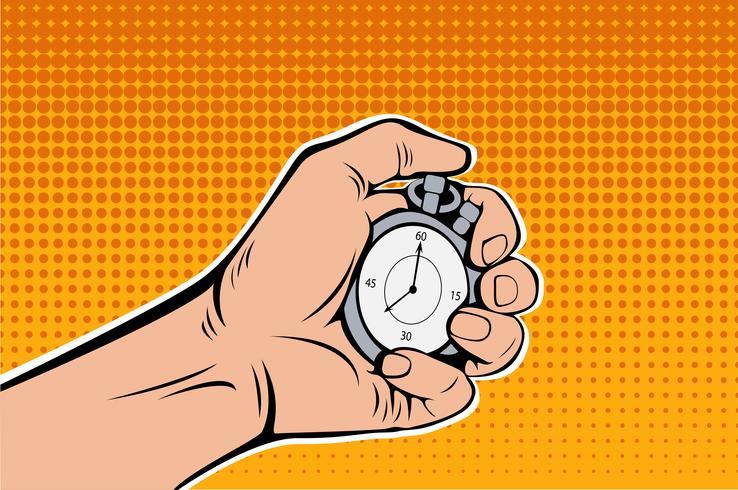 Male Hand Holding Stopwatch. Time Management. Pop Art retro vector  illustration