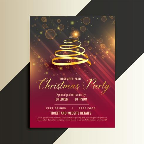 luxury golden ribbon christmas tree flyer template design