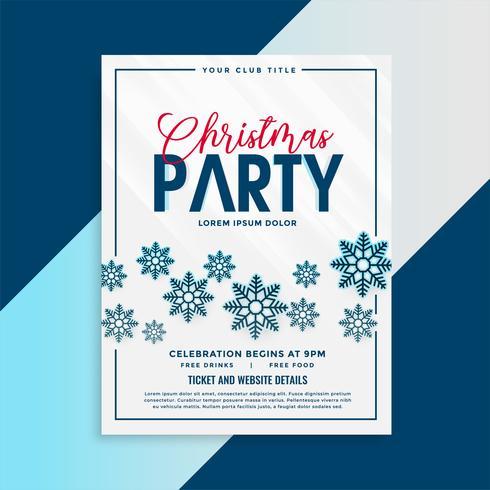 Weihnachtsfliegerschablone mit Schneeflocken und Ereignisdetails