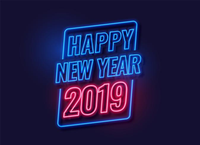 style néon bonne année 2019 fond