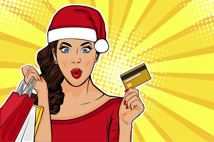2019 New Year sales postcard or greeting card. WOW sexy young girl with bags and credit card. Vector illustration in pop art retro comic style