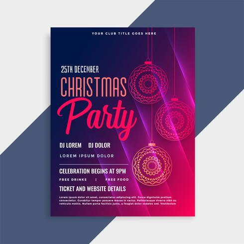 glänzende Frohe Weihnachten Flyer Vorlage mit Exemplar