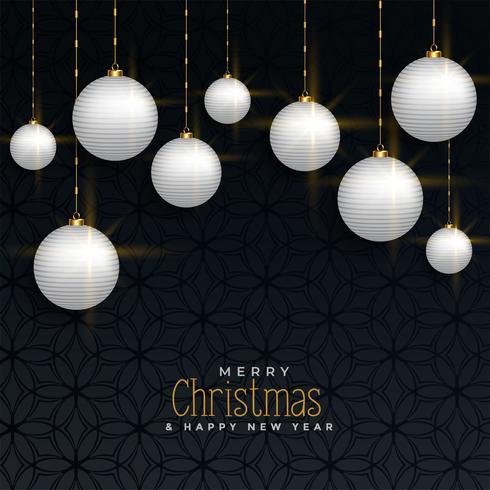 saludo de Navidad de lujo con bolas colgantes