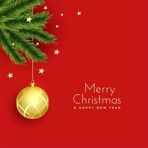 Saludo festivo de Navidad con bola y hojas